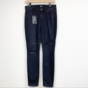 Paige Jeans Embroidered Distressed Black Skinny 28
